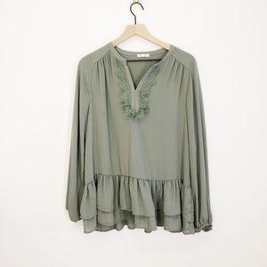 Pleione Green Long Sleeve Lace Trim Blouse